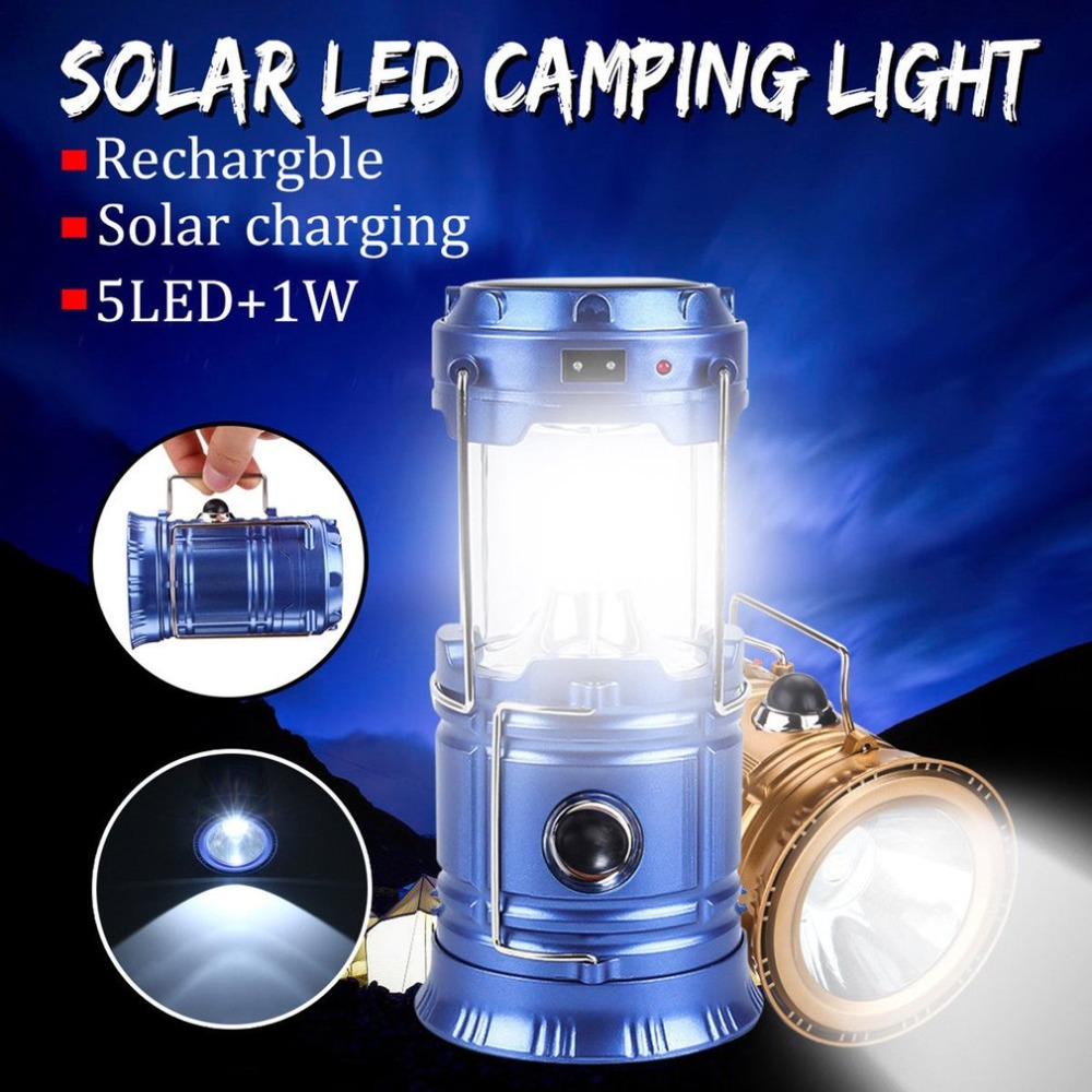 LED Solar Powered Collapsible Flashlights Portable Lamp LED Rechargeable Hand Lamp Hiking Camping Lantern Light Outdoor Lighting 24 led white light solar powered rechargeable camping lamp lantern green white black