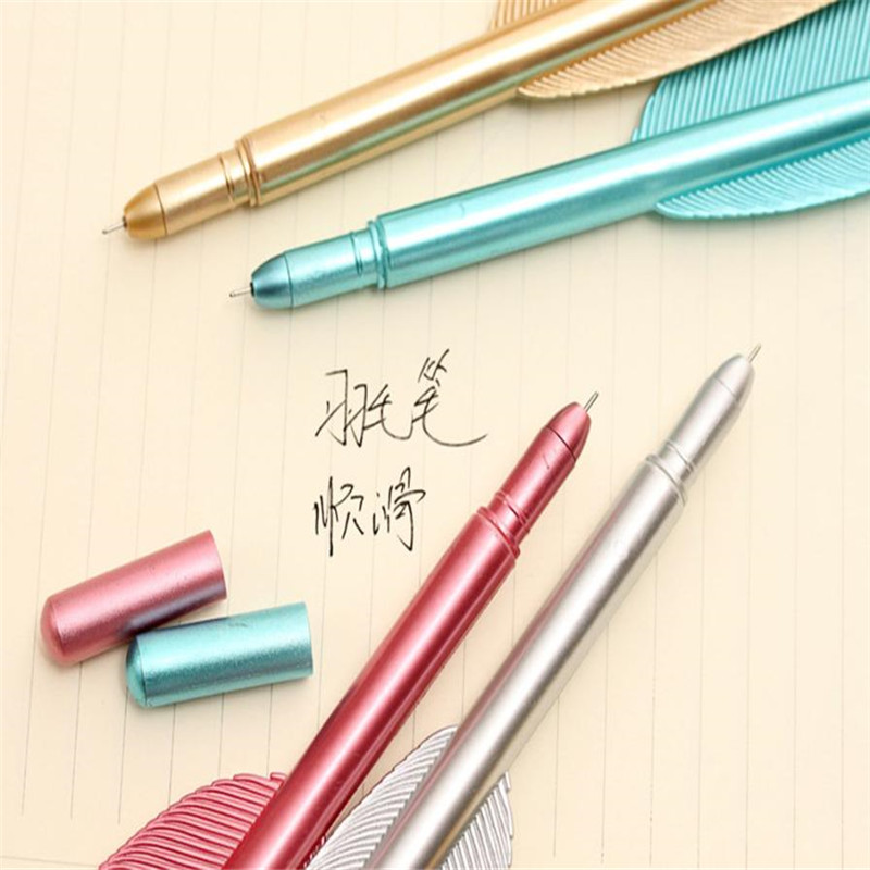 6PCS New Cute Wing Feather Ballpoint Ink Pens Creative Stationery Student