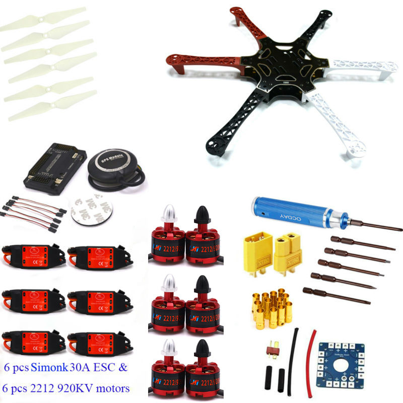 F550 Hexacopter Frame w/ APM2.6 Flight control Neo 7M GPS LHI 2212 920KV cw/ccw 30A Simonk Brushless ESC for f450 Quadcopter