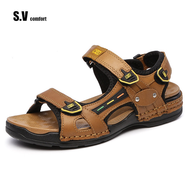 57cff4f7c0ed Summer Men Sandals Plus Size Genuine Leather Sandals Men Summer Shoes Men  Slippers Men s Sandals Causal Shoes Flip Flops