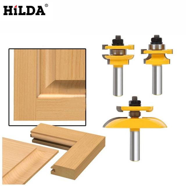 HILDA 1/2'' Shank Rail & Stile Ogee Blade Cutter *3 Panel Cabinet Router Bits Set Milling cutter Power Tools Door knife Wood Cut 3pcs 1 4 wood milling cutter round rail and stile router bits set cove raised panel tools endmill