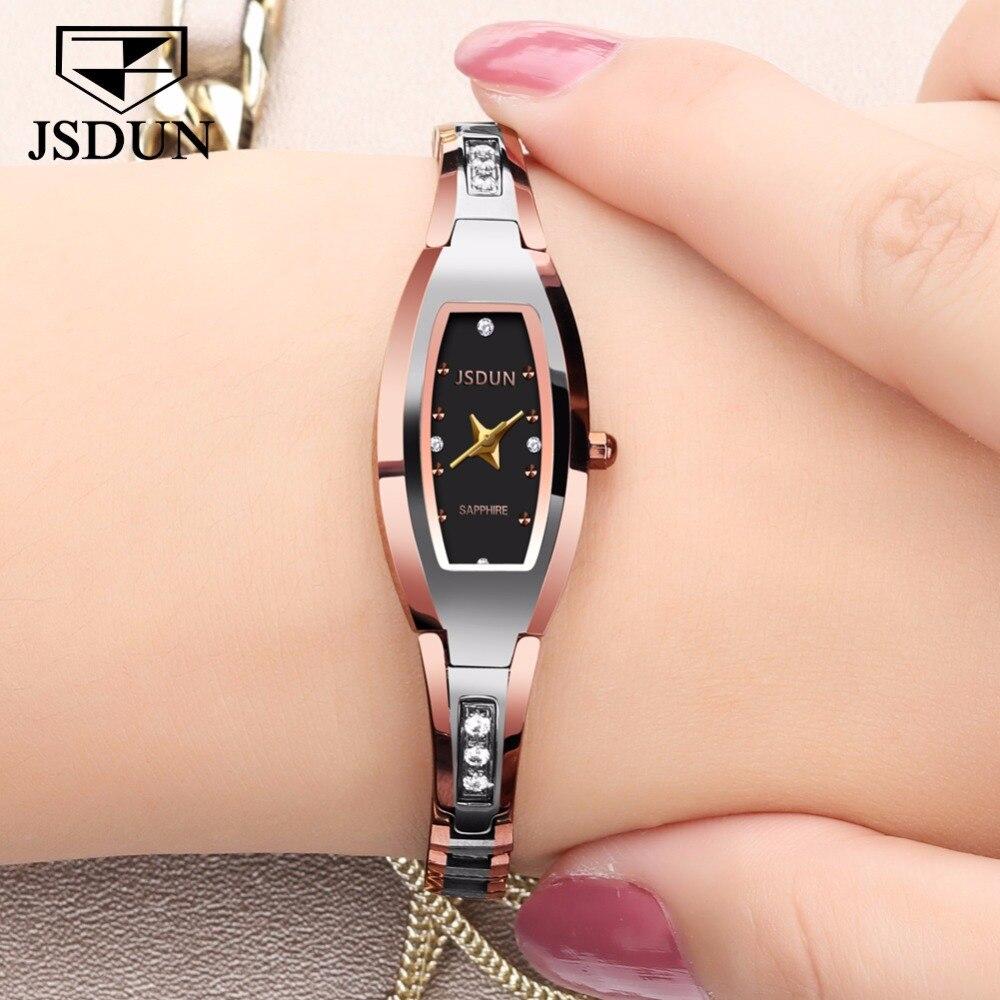 JSDUN Tungstène montre En Acier Femmes Rose Bracelet En Or Bracelet À Quartz montre Dames Élégantes Horloge montre femme relogio feminino saat