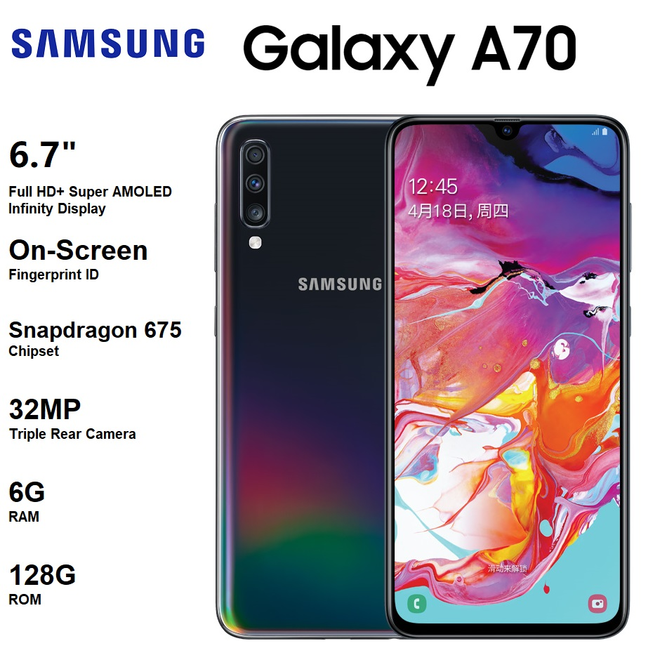 New Samsung Galaxy A70 6.7 AMOLED Infinity Display 4500mAh Battery 32MP Triple Rear Camera Snapdragon 675 128G ROM Android
