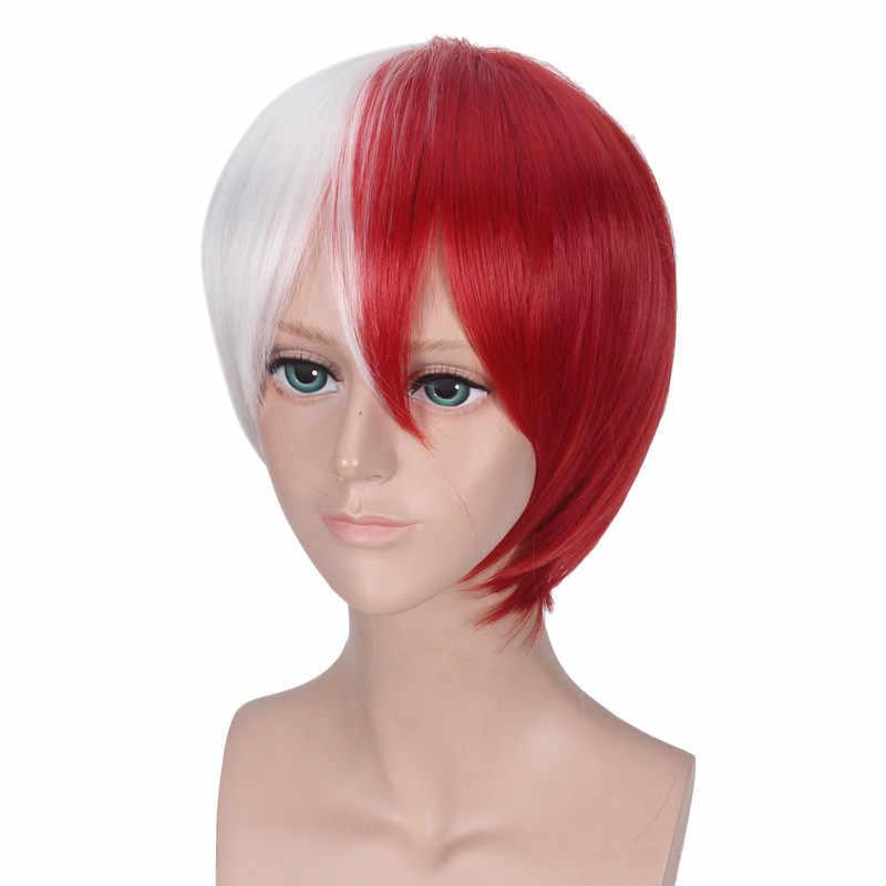My Hero Academia Cosplay peruk Shoto Todoroki Boku hiçbir Hiro Akademia Shouto beyaz ve kırmızı kafa kısa peruk kostüm