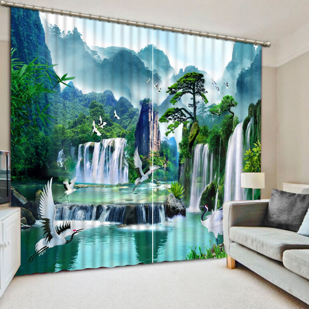 Photo mountain Landscape Curtains Blackout Beautiful waterfall polyester/cottom Curtains Hooks 3D CurtainsPhoto mountain Landscape Curtains Blackout Beautiful waterfall polyester/cottom Curtains Hooks 3D Curtains