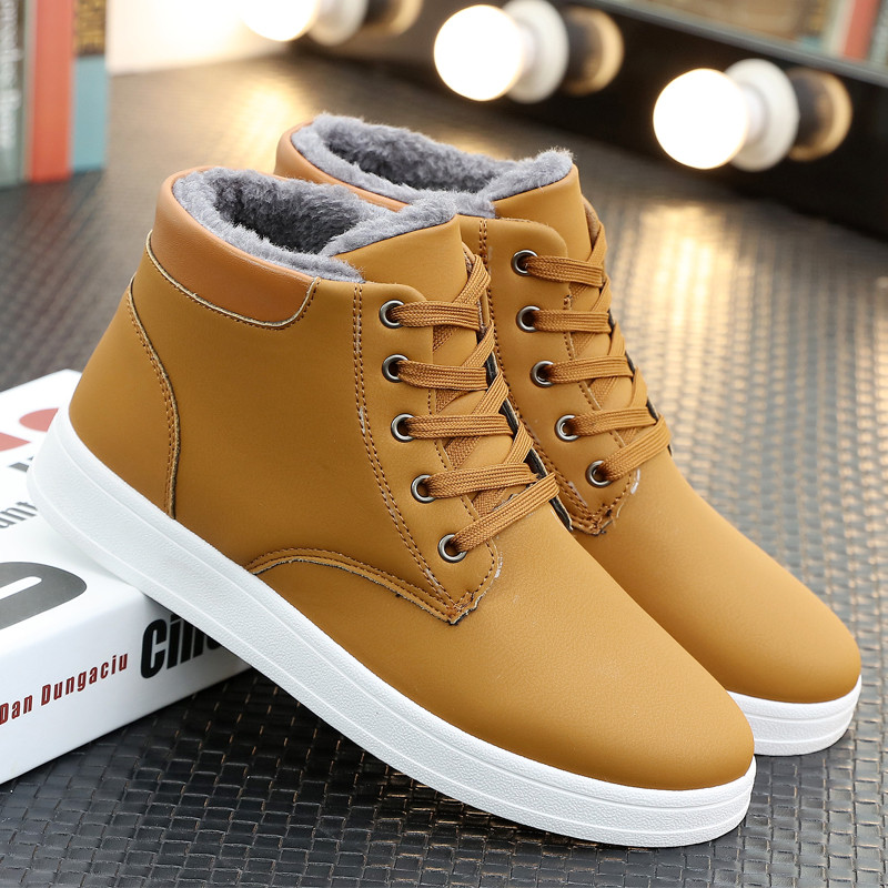 Men Winter Boots Lace Up Sneakers Ankle Snow Boot Plush Inside Antiskid Casual Male Flat Shoes Chaussure Homme iahead men boots men chelsea boots winter lace up flats casual shoes men leather ankle boots chaussure homme de marque mh598