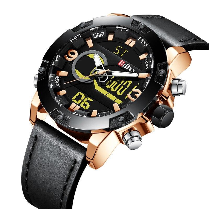 BIDEN Mens Watches Digital Waterproof Chronograph Sport Military Top Brand Luxury Genuine Leather Quartz LED Men Watch Gift 0111