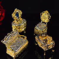 Qifu home decoration gold color small furniture Trinket box