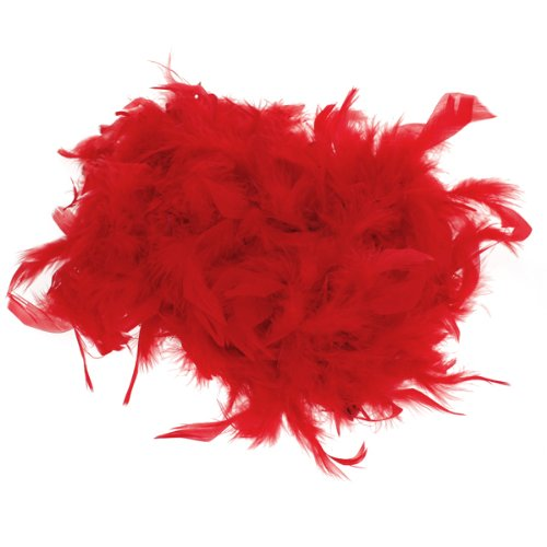 Boa de Plume Pelucheux Decoration Artisanale 6,6 Pieds de Long - Rouge