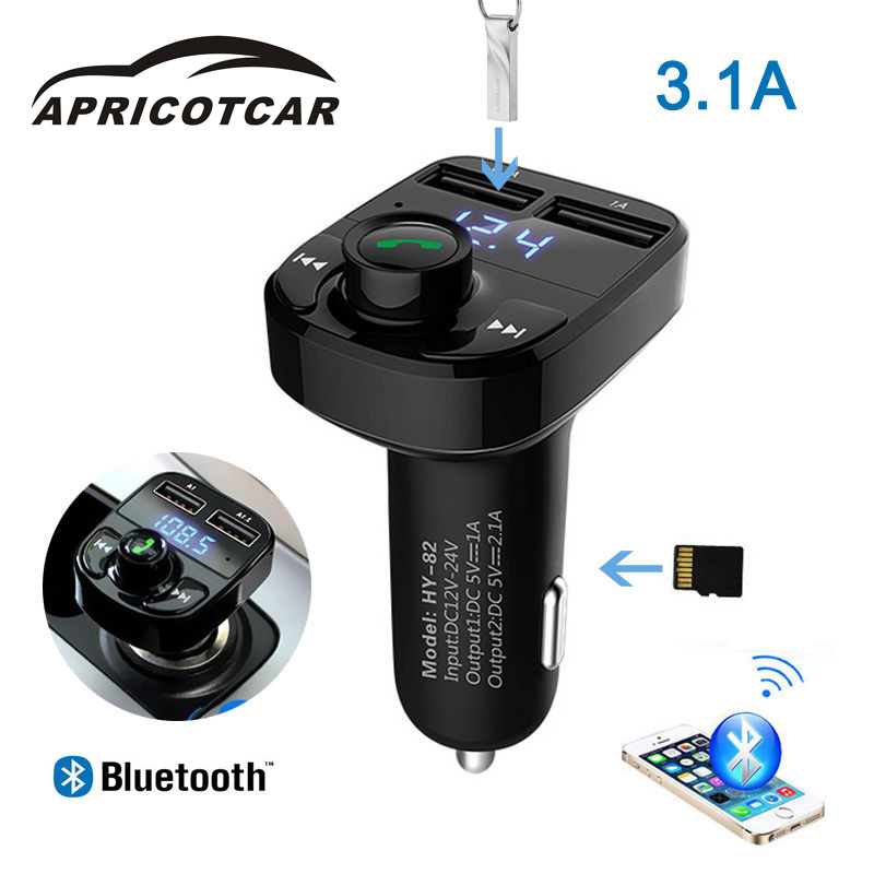 3.1A Fast Car Charger MP3 Player Card SD TF Lossless LED Dual Wireless Car Bluetooth Speakerphone FM Transmitter Car USB