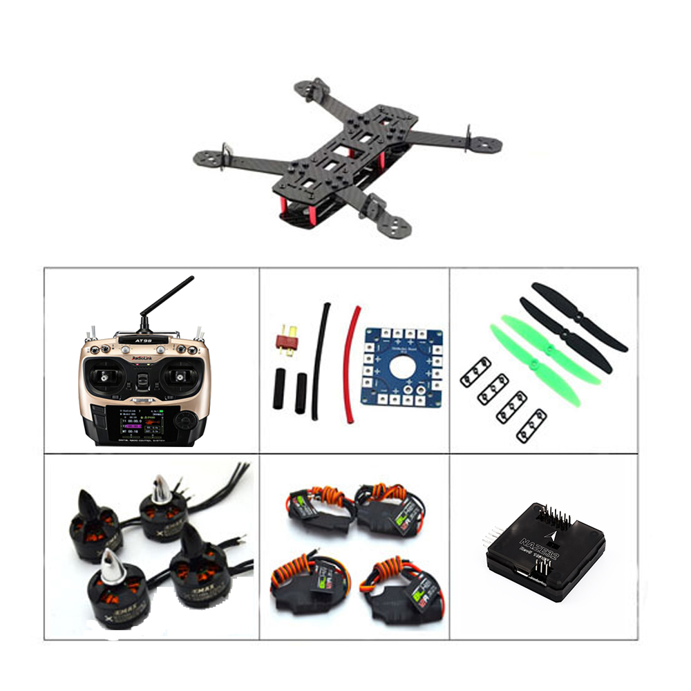2017 Real Lipo Qav250 Mini Carbon Fiber R/c 1806 2280kv 12a Blheli Naze32+10dof Flight Controller Combo with AT9S qav r 220mm carbon fiber racing drone quadcopte qav r 220 f3 flight controller rs2205 2300kv motor littlebee 20a pro esc blheli
