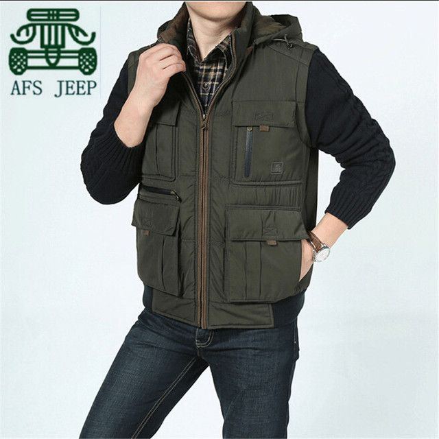 AFS JEEP 2015 Winter Design Man's Detachable Hooded Vest,Wool Knitted Sleeveless Detachable Thick Winter Coats Overall Vest