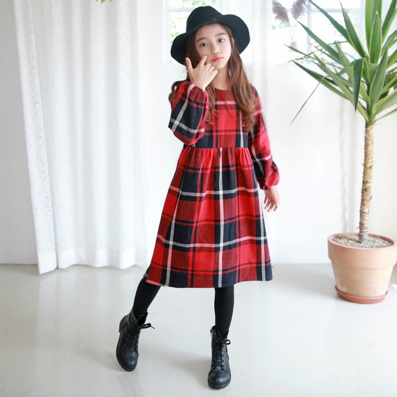 2018 New Autumn Baby Girl Dress Kids Princess Children Cotton Dress Plaid Toddler Sweet Dress Classical Clothes,#3268 girl s long sleeved dress new baby princess dress autumn 2018 children plaid dress cotton toddler tops bow kids dress 3350