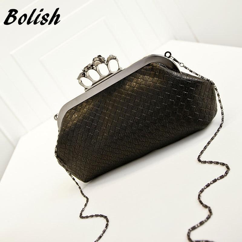 Bolish  New Handbag Woven Bag Skull Ring Chain Bag Handbag Shoulder Messenger Bag Evening Bag