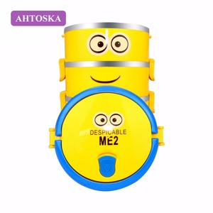 AHTOSKA Stainless Steel Lunch Box With Cute Cartoon For Kids Four layers Thermal Dinnerware Sets Tiffin Boxes