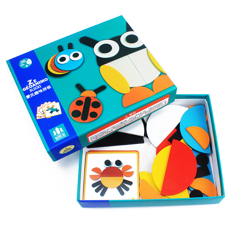 Kids Wood Jigsaw Puzzle Colorful Clever Board Puzzle Lovely Animals Picture Card Reference Picture Early Education Kindergartens