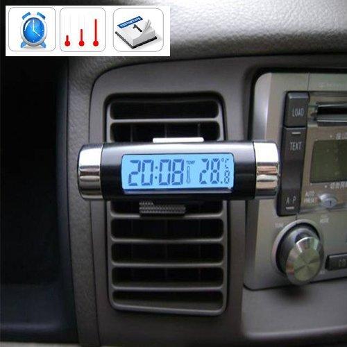 Black NEW Barrel Shaped LCD Digital Car Clock Calender