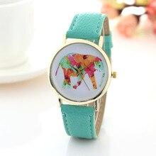 2017 Fashion Casual Women's Quartz Wristwatches Colourful Elephant Imitation Leather Band Relogio Feminino Womens Dress Watches