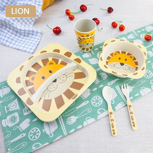 Bamboo Fiber Cute Cartoon Animal Dinnerware Feeding Set 5 pcs/set