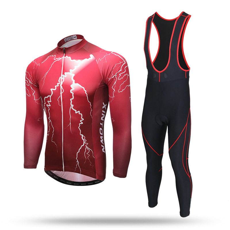 Red Lightning MTB Bike Bicycle Long Sleeve Set Spring Autumn Anti-sweat Quick Dry Jersey and GEL Bib Pants Trousers Cycling Suit ckahsbi 2017 new long sleeve cycling sets suit male autumn winter jersey outdoor bike coat quick dry mtb riding pants mountain