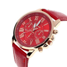 Luxury Fashion Casual Gold Red Women Watches Faux Leather Womens Geneva Roman Numerals 2019 Analog Quartz Watch Q
