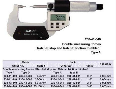 Point Micrometers.0-25mm LCD digital pointed end outside Micrometers.Five buttons micrometer цены