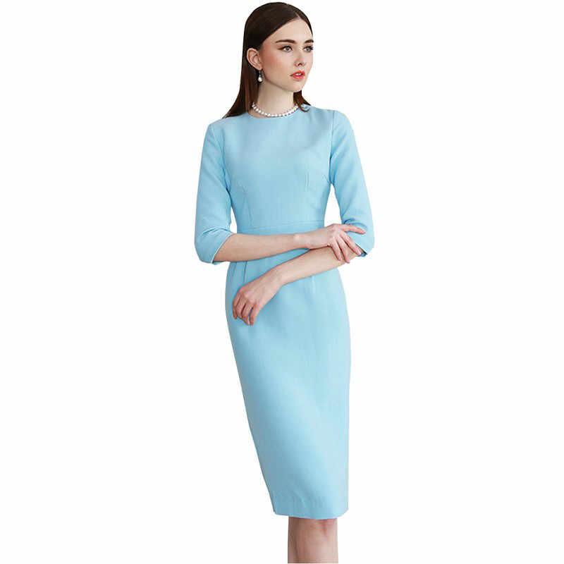 2b575273c 2018 mujeres elegante bodycon vestido azul claro trabajo OL media manga  sólido vestido elegante dulce Casual