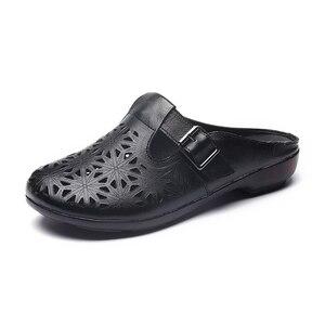 Image 4 - GKTINOO 2020 الصيف المرأة جلد طبيعي قباقيب أحذية مستديرة رئيس الانزلاق على فام النعال الرجعية جوفاء Zapatillas Mujer