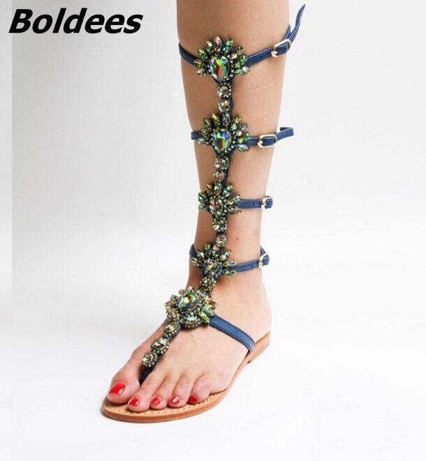 Design tendance boucle sangles sandales plates femme genou haut strass gladiateur sandale botte Style bohème chaussures de plage en cristal - 4