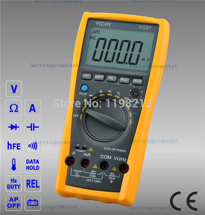VICHY VICI VC97+ Digital Multimeter DMM AC DC Voltage Current Capacitance Resistance Meter Tester Voltmeter Tester VS FLUKE15B