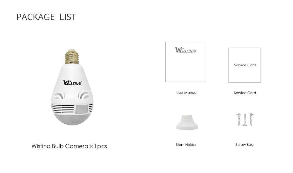 Wistino Wireless IP Camera Bulb Light WiFi 960P VR Panoramic FishEye Lamp Cameras CCTV Security Home Baby Monitor 360 Degree Night Vision (15)