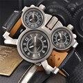 Oulm zona horaria múltiple reloj de cuarzo masculino casual correa de cuero reloj de pulsera marca de lujo de los hombres militares relojes montre homme