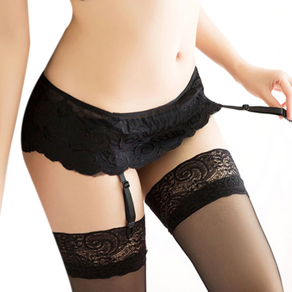 4 Colors Women Sexy Thongs Lace Stocking Suspender Lingeries Dual Layer Garter Belts