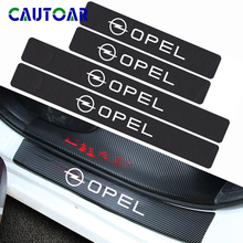 4Pcs Car Styling Carbon Fiber Car Door Sill Protector Sticker Decal For Opel Astra H G J Insignia Mokka Zafira Corsa Vectra C D 2x car led number license plate light fit for vauxhall opel corsa c d astra h j zafira b corsa c d e meriva a b 8000k 12v 0 5a