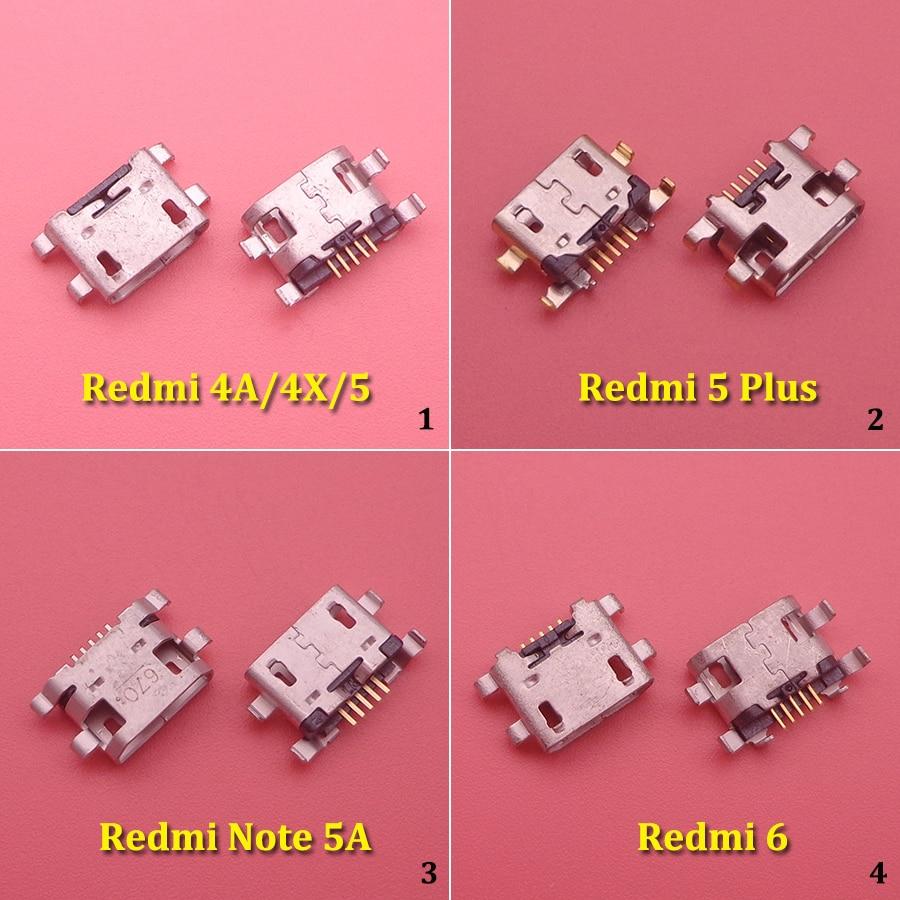 10pcs Micro USB Connector 5pin USB Jack Socket Female Charging Port For Xiaomi Redmi 4A 4X 5 Plus 5plus 6 Note 5A