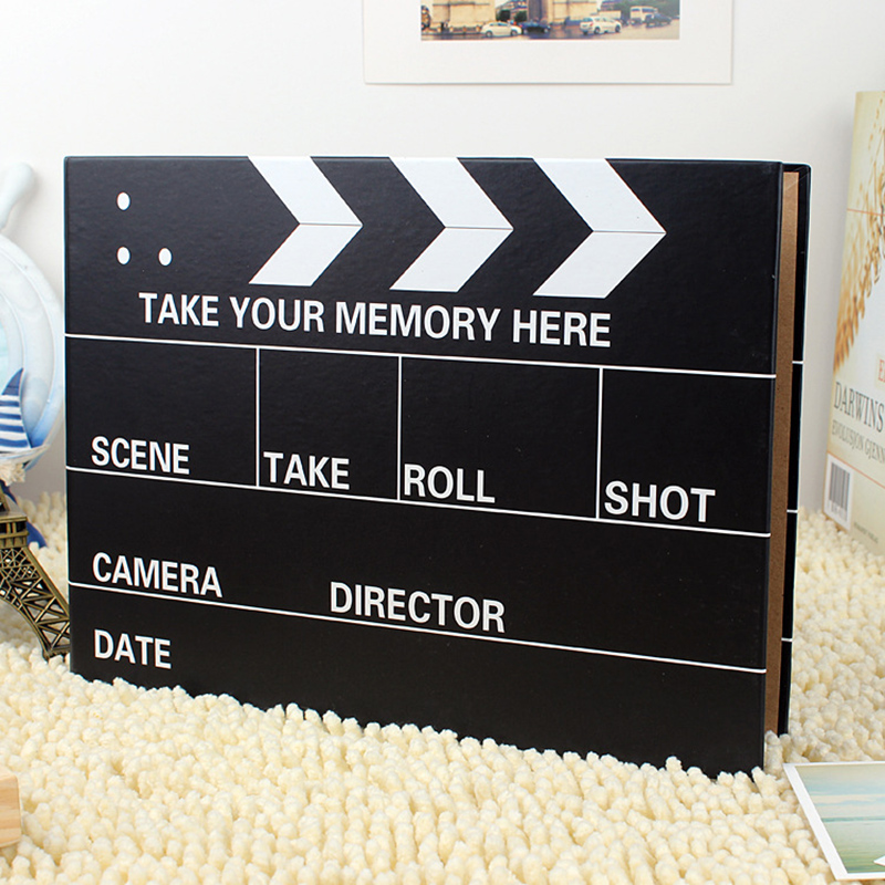 10 inch Photo Albums Creative Black Clapper Board Self-Adhesive Photo Album Photos Memory Record Scrapbook Wedding Birthday Gift