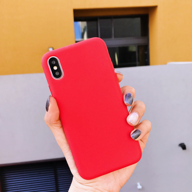 Back Matte Phone Apple Iphone XS Case Candy Color Soft Silicone Cover For Iphone Anti-Knock Original Phone Shell
