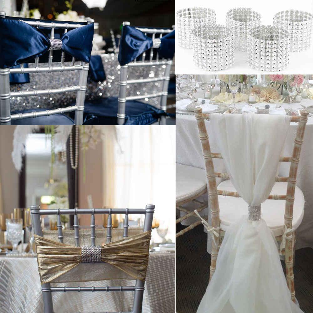 1 yard argent diamant maille strass Wrap ruban rouleau pour bricolage anniversaire fête de mariage événement décoration de la maison