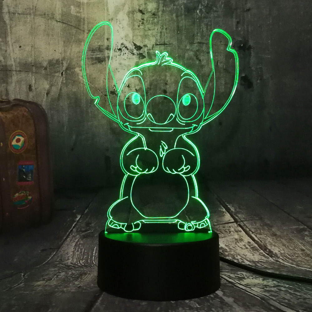 Creative Stitch 3D Night Light Acrylic Panel Children Table Lamp Bedside Lamp USB 7 Colors Change Bedroom Home Decor Kids Gift in LED Night Lights from Lights Lighting