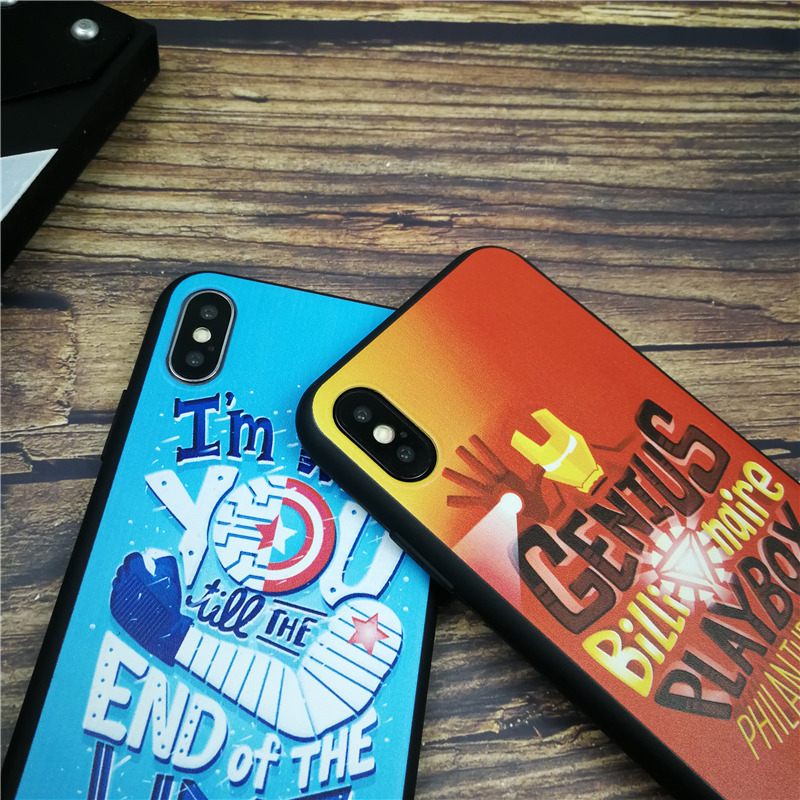 Comic Marvel soft phone cover case for iphone X XS MAX XR 8 7 6 6S plus matte silicon cases Captain iron Man coque funda capa in Half wrapped Cases from Cellphones Telecommunications
