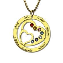 Oro Color Piedra de Nacimiento Apellido Nombre Collar Personalizado Collar De Corazón en Corazón Mamá Collar Family Love Joyería Conmemorativa
