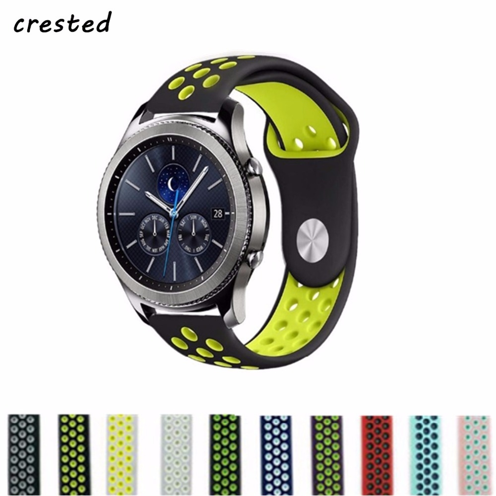 CRESTED sport strap for samsung gear s3 Frontier/Classic band 22mm silicone wrist band replacement rubber Bracelets for samsung 22mm sports silicone strap for samsung gear s3 frontier band for gear s3 classic rubber watchband replacement wristband
