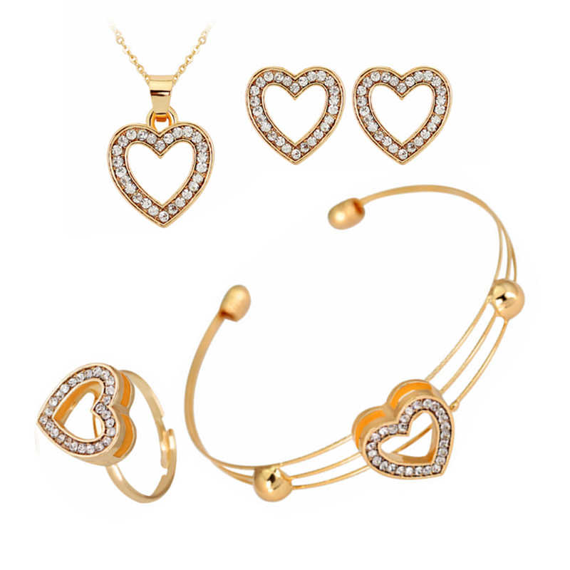 4 Pcs/Set 2019 Hot Women's Fashion Bride Wedding Luxury Crystal Heart Necklace/Earrings/Ring/Bracelet For Women Jewelry Set