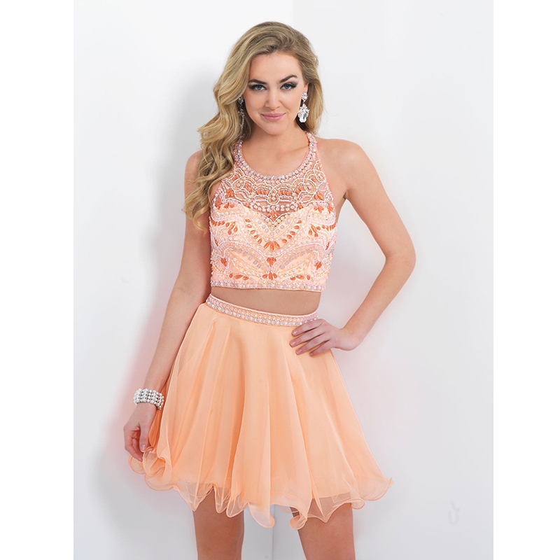 Unique Peach Short 2 Pieces Prom Dresses Halter Illusion Neckline Beaded A Line Chiffon Vestidos De Fiesta Cortos 2017 In From Weddings
