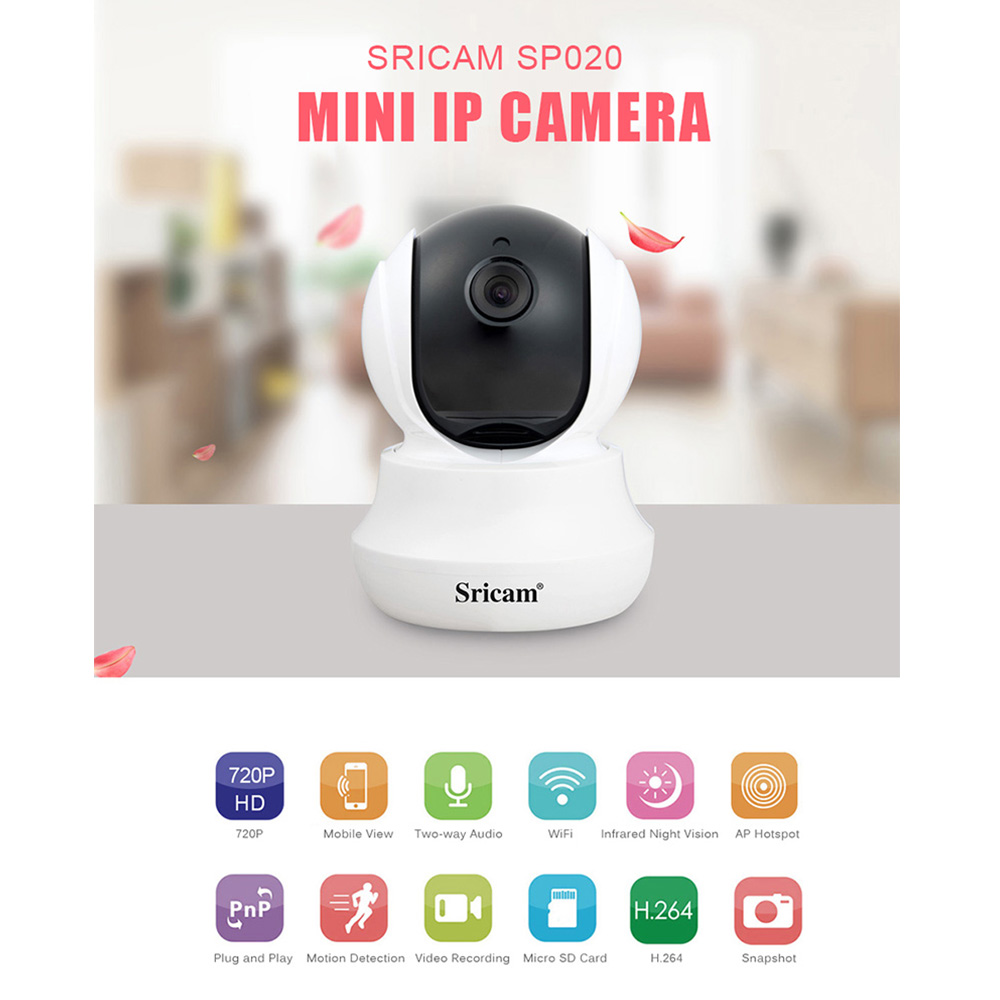 Sricam SP020 Wireless HD IP Camera Wifi Indoor Onvif Camera Home Security CCTV Wi-fi Video Surveillance Camera Baby Monitor