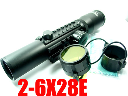 Tactical Reticle 2-6X28E Airsoft Hunting Rifle Scope With Mil-Dot Mounting Rail Free Shipping