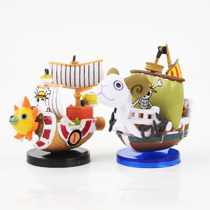 2Styles New Hot Toy One Piece Going Merry Thousand Sunny Pirate Boat Model Mini Figure Ship Collectible Doll Free shipping