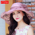 PTAH Mujeres Ala Ancha Plegable Del Visera Sombreros Chapéu femenino Organza Flojo de la Playa Del Arco Floral 100% Seda Protector Solar Cap Summer0516