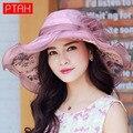 PTAH Women Wide Brim Foldable Visor Hats Chapeu Feminino Organza Floppy Beach Hat Floral Bow 100% Silk Cap Sunscreen Summer0516