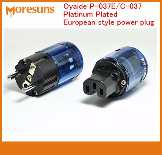 Fast Free Ship 2 Pairs/lot For Oyaide P-037E/C-037 Platinum Plated European Style Power Plug/European Standard Electrical Source